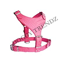 English Croc Embossed Pink Leather Dog Plain Harness Rottweiler
