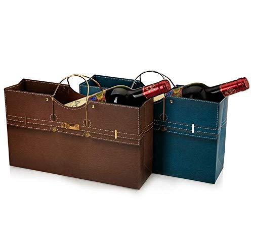 Chris.W Wine Purse Gift Bags, Set of 2 Deluxe Superior Quality Paper Bags for Two Wine Bottles(Dark Blue/Brown) - Large