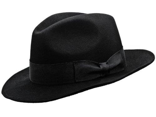 Sterkowski Rabbit Fur Felt Classic Vintage Fedora Hat US 7 Black