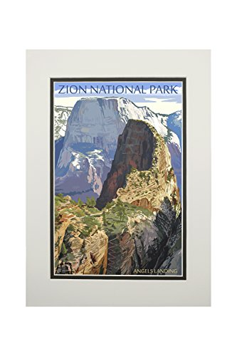 Zion National Park, Utah - Angels Landing (11x14 Double-Matted Art Print, Wall Decor Ready to Frame)
