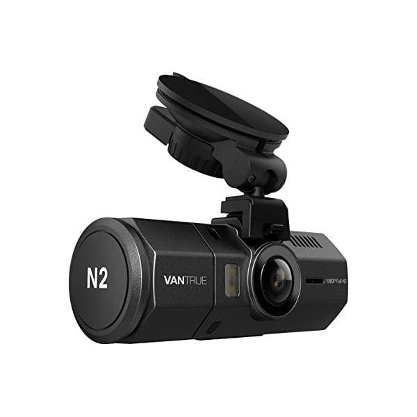 "VANTRUE N2 Uber Dual Dash Cam 1080P Inside And Outside Dash Camera For Cars 1.5"" Near 360° Wide Angle Lyft Dashboard Cam W/ Parking Mode, Motion Detection, Front Camera Night Vision Effects"