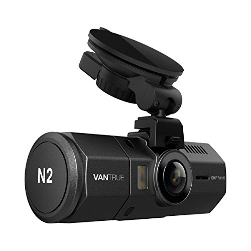 "Vantrue N2 Uber Dual Dash Cam 1080P Inside And Outside Dash Camera For Cars 1.5"" Near 360° Wide Angle Lyft Dashboard Cam W/Parking Mode, Motion Detection, Front Camera Night Vision Effects"