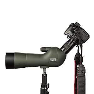 BNISE Telescopio Terrestre, con Zoom Resistente al Agua 20-60x60, Lentes ópticas recubiertas FMC, con Soporte para trípode, Clip para cámara de teléfono móvil, cámara, Clip para cámara