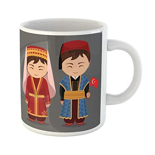 Emvency Funny Coffee Mug Turks in National Dress Flag Man and Woman Traditional Costume Travel to Turkey 11 Oz Ceramic Coffee Mug Tea Cup Best Gift Or Souvenir -