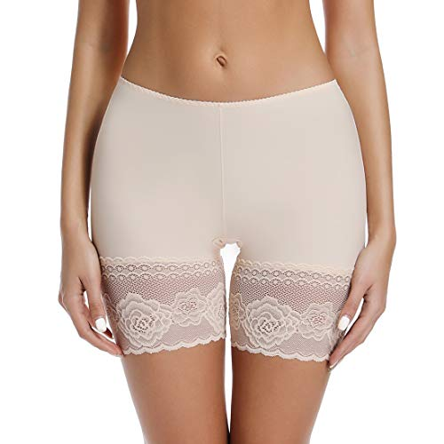 - Womens Slip Short for Under Dresses with Lace Thigh Band Anti Chafing Seamless Smooth Boyshorts Small to 3XL