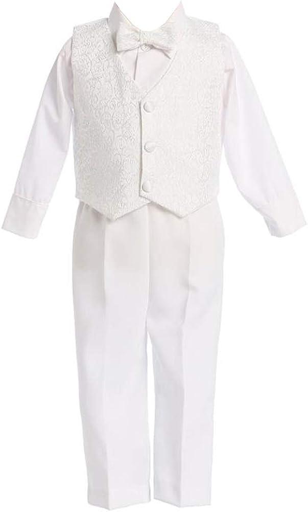 4 Piece White Boys Embroidered Jacquard Christening Baptism or Wedding Vest Set