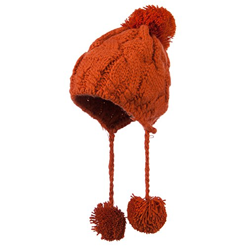 Women's Cable Knit Trapper Hat - Orange OSFM
