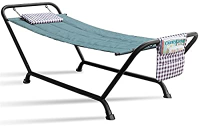 Sorbus Hammock Bed with Stand, Features Deluxe Pillow and Storage Pockets, Heavy Duty, Supports 500 Pounds, Great for Patio, Deck, Yard, Garden Camping Furniture