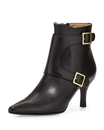 neiman-marcus-zahara-double-buckle-leather-bootie-black-size-6m