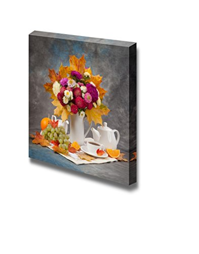 Autumn Still Life Tea Flower and Yellow Leaves Wall Decor
