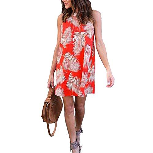 FELACIA Womens Strap Halter Sleeveless Printed Mini Dress