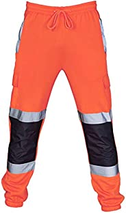 LISTHA High Visibility Pants Men Road Work Overalls Casual Pocket Trousers