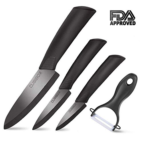 Ceramic Knife Set With Sheaths – Super Sharp & Rust Proof & Stain Resistant Ceramic Chef Knife, 6″ Chef Knife, 4″ Utility Knife, 3″ Paring Knife, 1 Peeler (Black) Review