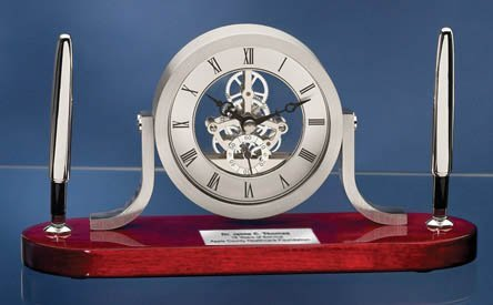 Clock Pen Cup (Personalized Clock Pen Gift Set Mahogany Desk Table Da Vinci Shelf Clock with Silver Engraving Retirement Employee Recognition Service Award Coworker Boss Appreciation Gift)