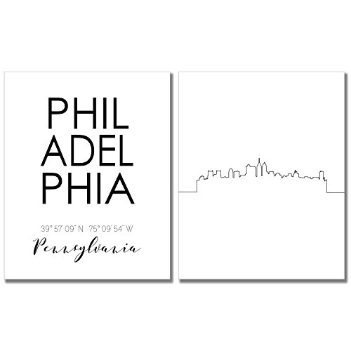 line Wall Décor Prints - Set of 2 (8x10) Art Photos - Typography Minimalist Poster ()