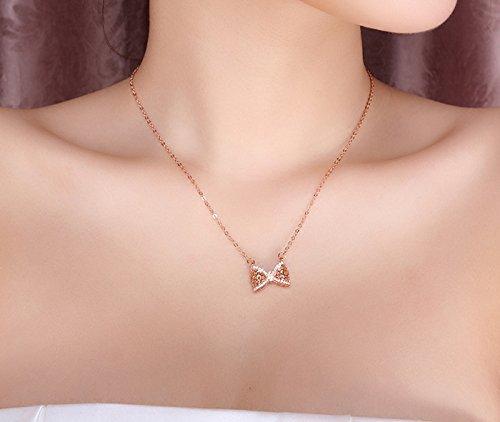 Findout dames plaqué or rose sterling diamant Silver Bow creux collier pendentif .pour femmes filles. (f1442)