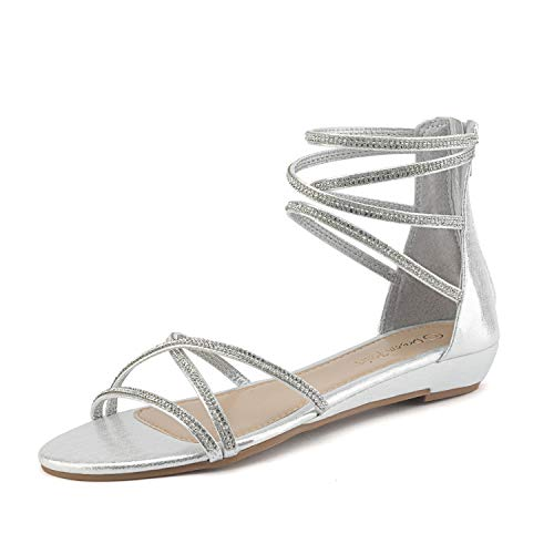 (DREAM PAIRS Women's Weitz Silver Ankle Strap Rhinestones Low Wedge Sandals - 5 M US)