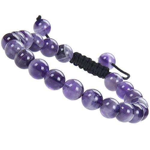 Massive Beads Natural 8mm Gemstone Bracelets Healing Power Crystal Macrame Adjustable 7-9 Inch (Amethyst)