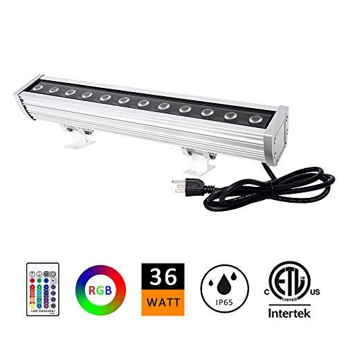 "Price comparison product image H-TEK 36W LED Wall Washer Light,  RGBW Color Changing LED Light Bar 120V,  RF Remote Controller 1.64ft / 20"" Outdoor RGB LED Light Bar for Advertisement Lighting,  Hotels,  Resorts,  Casinos-5 Yrs Warranty"