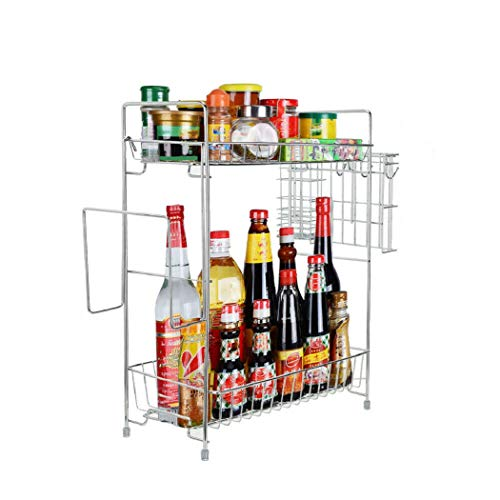 2 Tier Kitchen Storage Rack Bathroom Countertop Storage Shelf Seasoning Jar Rack by MASAT