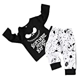 Toddler Baby Boy Clothes 2Pcs Outfit Set Nightmare Printing Long Sleeve and Skull Pants Clothing Set Kids Clothes (2-3T,110) Black