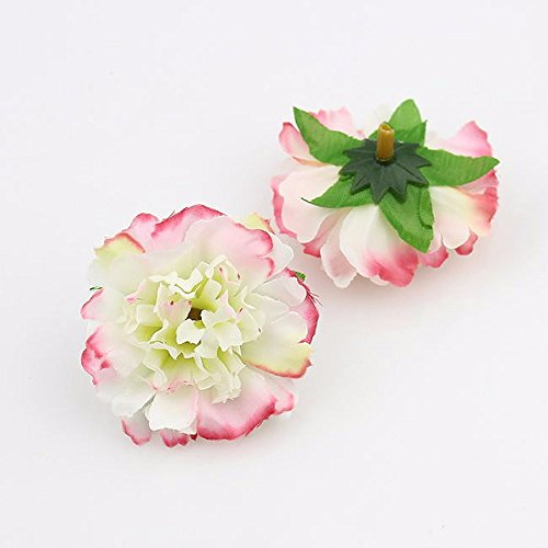 Carnation Daisy Bouquet (Artificial carnation Flower Head Handmade Home Decoration DIY Event Party Supplies Home Decor Wreaths 50pcs/lot Approx 5cm (green with pink))