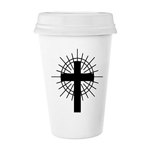Religion Belief Christianity Church Black Circle Holy Cross Culture Design Art Illustration Pattern Classic Mug White Pottery Ceramic Cup Milk Coffee Cup 350 ml by DIYthinker