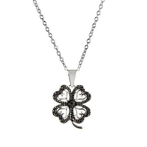Sterling Silver Black Diamond Accent Four Leaf Clover Pendant Necklace (Diamond Accent Clover Pendant)