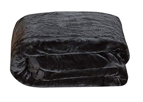 Chezmoi Collection Heavy Thick One Ply Korean Style Faux Mink Blanket 9-Pound Oversized King 105x92 (King, Black) ()