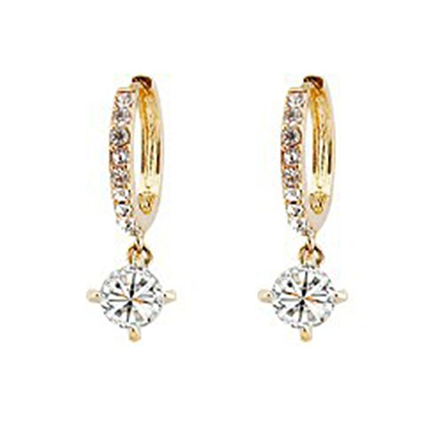 Ocaler 18K Gold and Silver Plated Crystal Hook Earrings (Cheap Stuffs Under 1 Dollar)