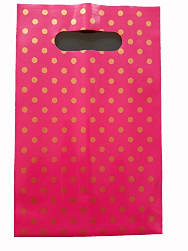 Pink Handle Favor Bags with Gold Polk-a-Dots, Super strong 24 Bags 9 x 6 inch (Dot Favor Bags)