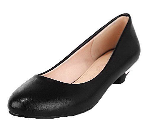 On Low Solid Shoes Toe Heels Women's Black Pull Round WeenFashion PU Pumps qtaEv