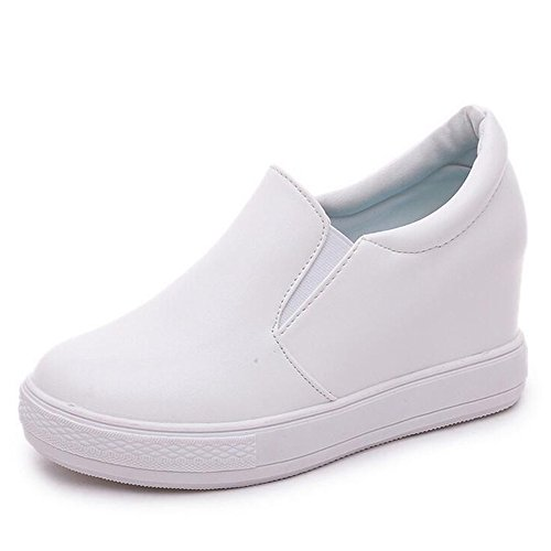 Heel Sneakers Low Hidden Wedges PP Loafer Top White Platform Shoes Women's Fashion Style Fashion Korean 0qw4pAO
