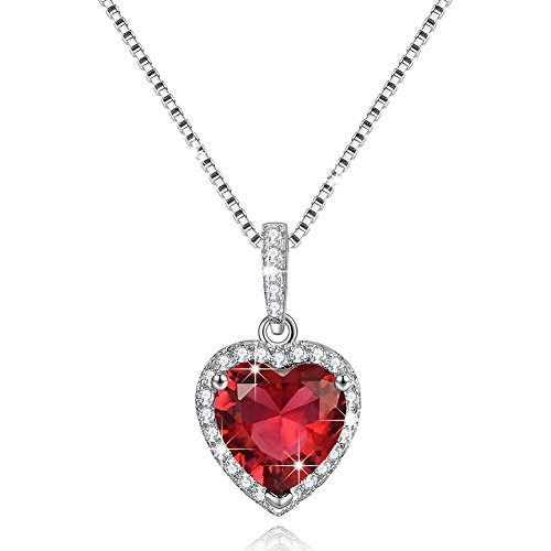 Red garnet necklace amazon shape of my heart created july birthstone necklace created ruby necklace birthday gifts for women mom girls wife teengirls sister girlfriend wedding mozeypictures Gallery