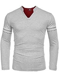 "<span class=""a-offscreen"">[Sponsored]</span>Men's Casual Retro Printed Long Sleeve V-Neck Slim Fit T-Shirts Basic Tee Shirt(Grey,Medium)"