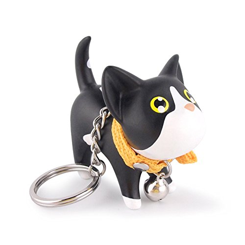 - Lucky Kitty Keychain Mini House Key Ring Pendant Strap Connector Wristlet Cord Keychain(Black and White)