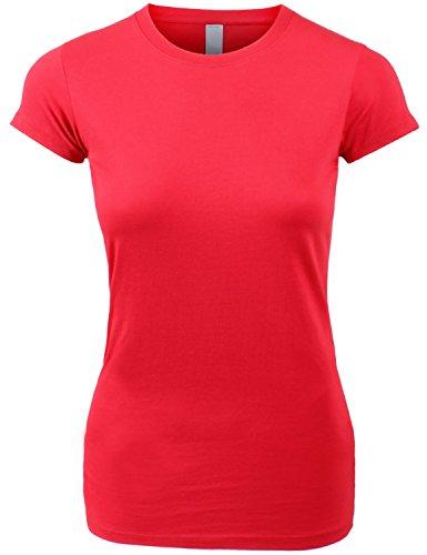 Women's Basic Crewneck T Shirt Short Sleeve Juniors Red Shirts (Ladies Basic Crewneck Tee)