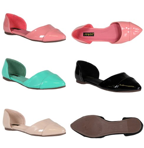 ANNA AMBER-4 Womens Pointed Toe Dorsay Style Ballet Flat, Color:BLUSH, Size:6