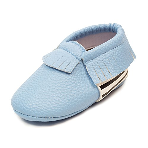 Frills Infant Toddlers Baby Boys and Girls Soft Soled Fringe Crib Shoes PU Moccasins - Striped Blue (for Ages 6-12 months/12 cm Length) by Frills Du Jour (Image #4)