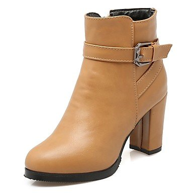 RTRY Women's Shoes PU Leatherette Fall Winter Comfort Novelty Bootie Boots Chunky Heel Round Toe Booties/Ankle Boots Buckle For Party & US6.5-7 / EU37 / UK4.5-5 / CN37 AN3UMQ