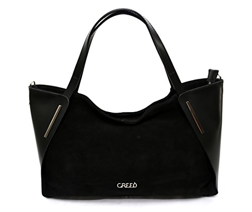 Made Womens Parma Italy Leather in Leather Black Beige Handbag Womens nxqAaXqg1