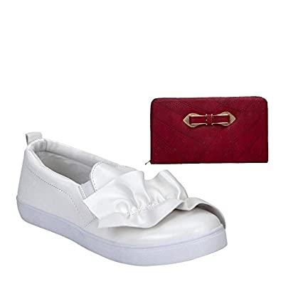 ad844a8613 Etashee Leather White Coloured Broad Toe Flat Heel Sneakers with ...