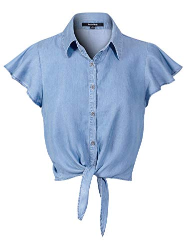 (Design by Olivia Women's Short Ruffle Sleeve Tie Knot Front Button Down Chambray Shirts Light Denim M)