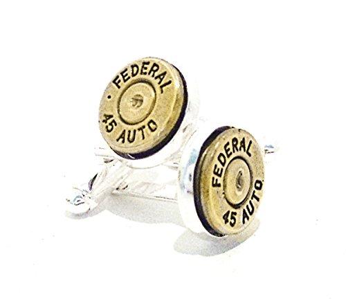 Men's Bullet Gun Ammo Jewelry Accessory 45 Autol Brass Cuff Links Gift for Him