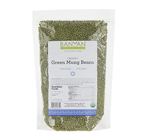 Banyan Botanicals Green Mung Beans - USDA Organic - Non GMO - For Soups, Sprouts, Easy Digestion 1.65 - Bulk Organic Beans Green