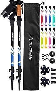 TrailBuddy Trekking Poles - 2-pc Pack Adjustable Hiking or Walking Sticks - Strong, Lightweight Aluminum 7075