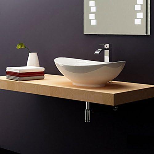 Minmin 浴室の流しの洗面器の楕円形の陶磁器のカウンター盆地の芸術の洗面器の洗面器の蛇口が付いている浴室の洗面器、59X38.5X18cm 芸術流域