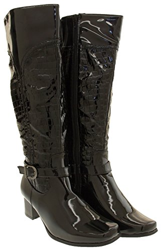Womens Black Patent Mock Boots Crocodile Manfield High Knee OxZavqZw1