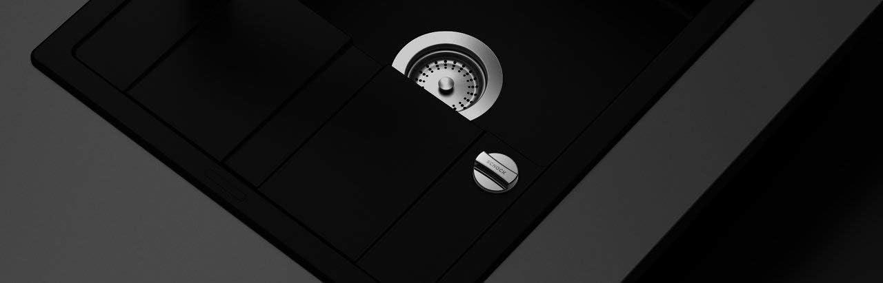 extrem schmale Ausf/ührung Schock Einbausp/üle TYPOS D-100 S Sp/üle 860 x 435 mm Cristalite Granit TYPOS D-100S Titanium