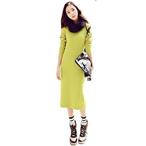 E Mujer Invierno Moda Larga Jersey Largo Cuello Color Mustard De Suéter Punto Redondo Manga Hyhan Sección Otoño vqFvw